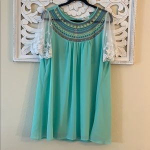 Umgee Mint Green Lace Accent Blouse